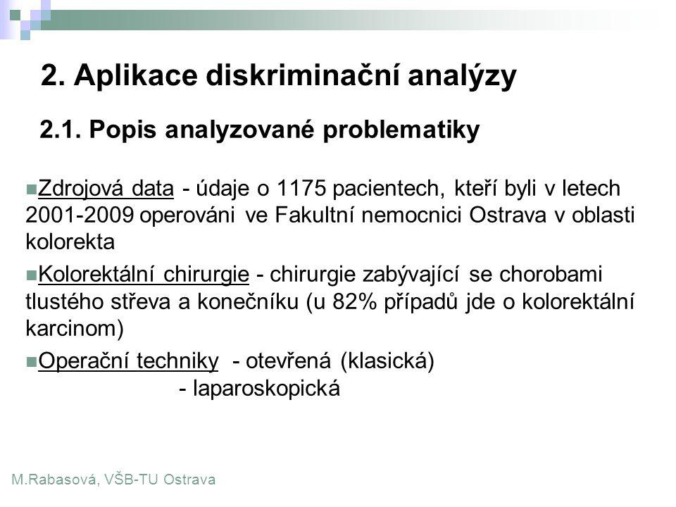 2. Aplikace diskriminační analýzy