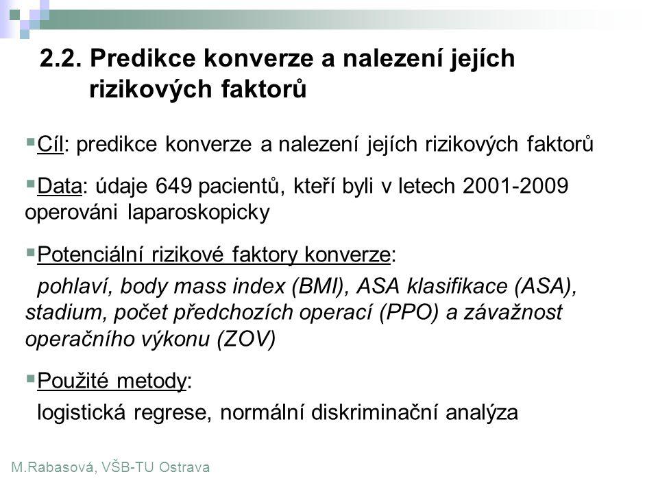 2.2. Predikce konverze a nalezení jejích rizikových faktorů