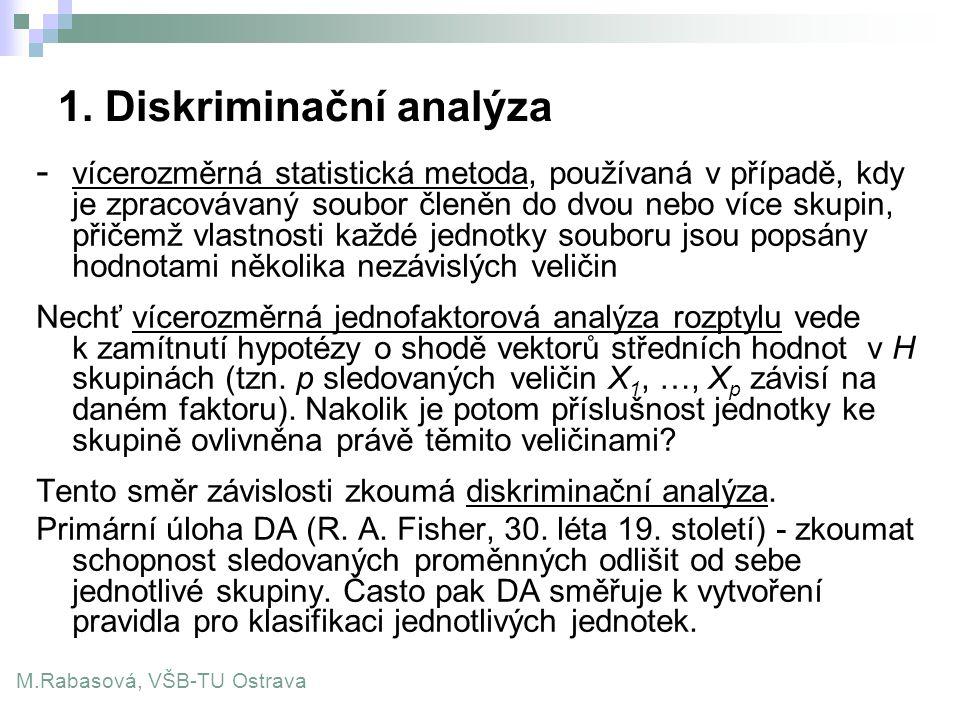 1. Diskriminační analýza