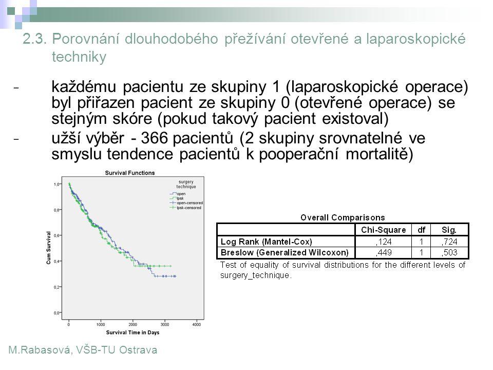 2.3. Porovnání dlouhodobého přežívání otevřené a laparoskopické techniky