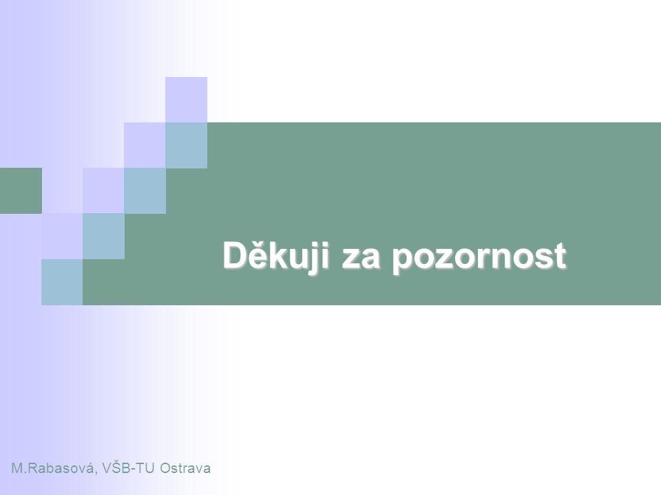 Děkuji za pozornost M.Rabasová, VŠB-TU Ostrava