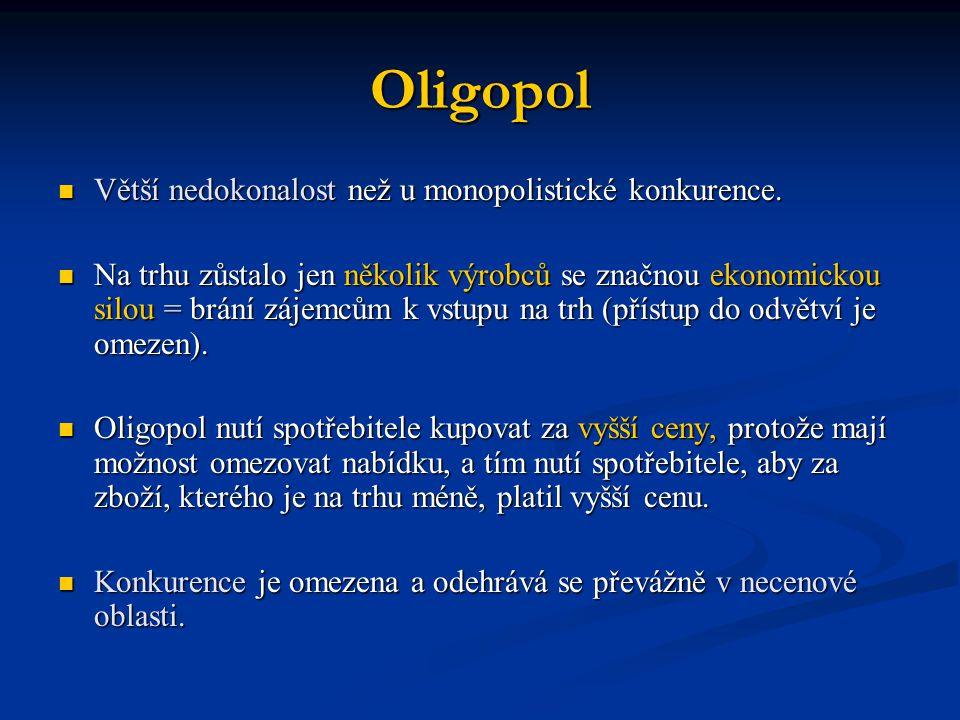 Oligopol Větší nedokonalost než u monopolistické konkurence.