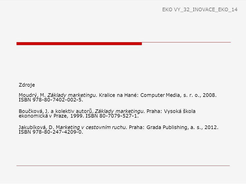 EKO VY_32_INOVACE_EKO_14 Zdroje. Moudrý, M. Základy marketingu. Kralice na Hané: Computer Media, s. r. o., 2008. ISBN 978-80-7402-002-5.