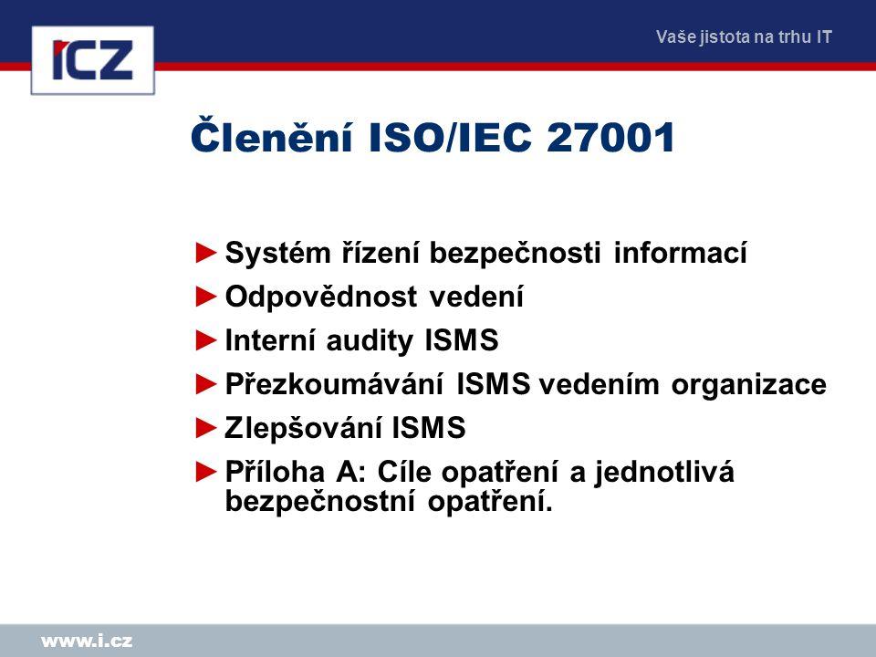 Členění ISO/IEC 27001 Systém řízení bezpečnosti informací