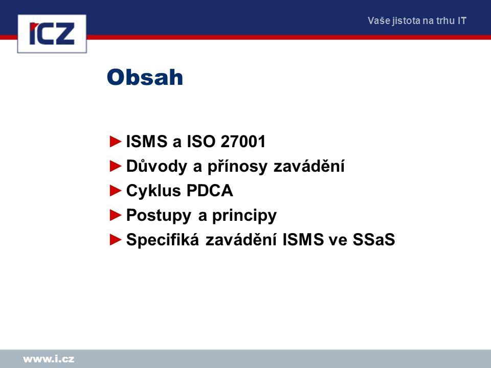 Obsah ISMS a ISO 27001 Důvody a přínosy zavádění Cyklus PDCA