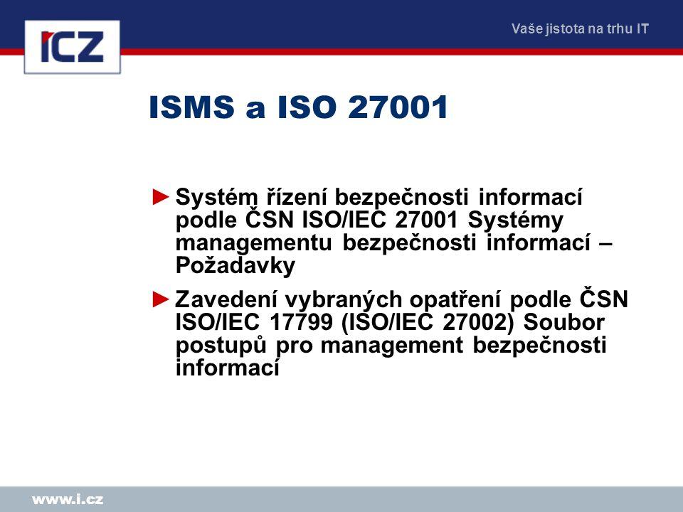 ISMS a ISO 27001 Systém řízení bezpečnosti informací podle ČSN ISO/IEC 27001 Systémy managementu bezpečnosti informací – Požadavky.