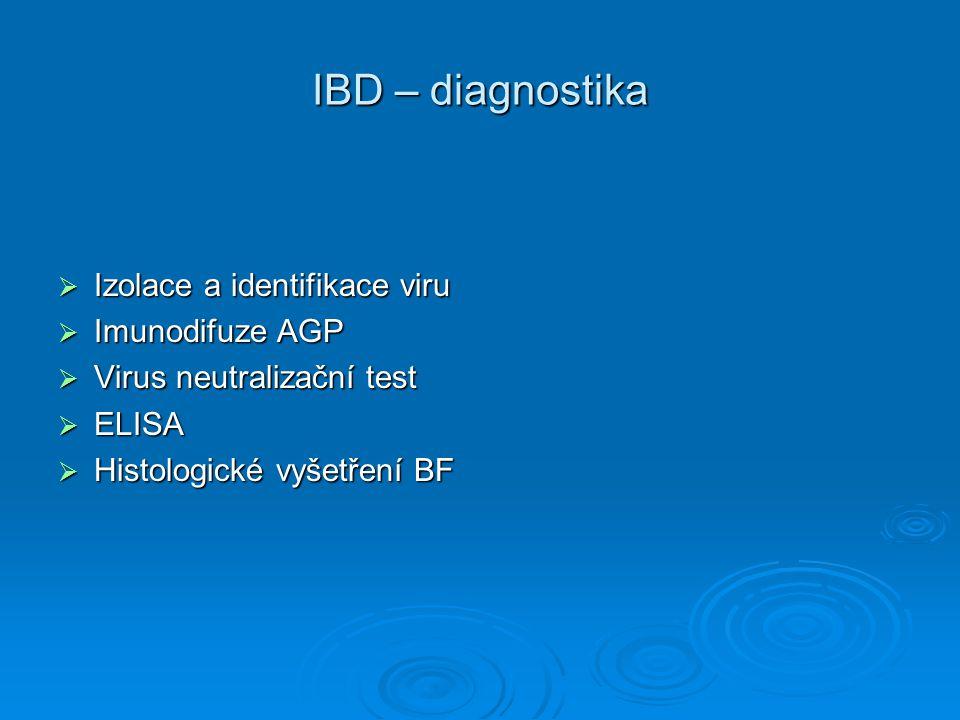 IBD – diagnostika Izolace a identifikace viru Imunodifuze AGP