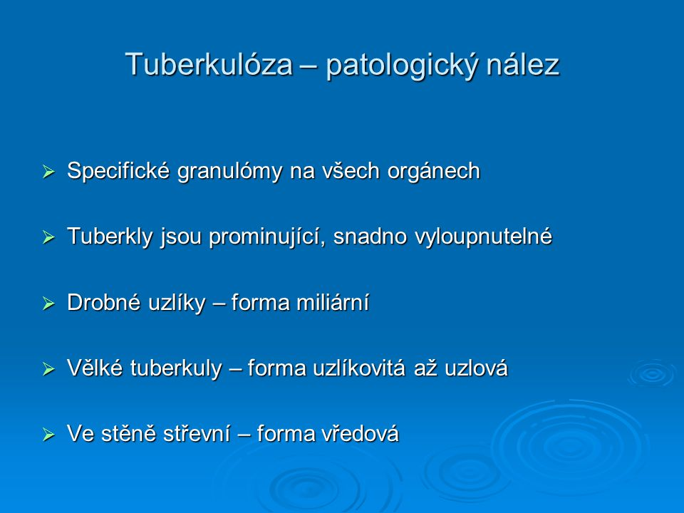 Tuberkulóza – patologický nález