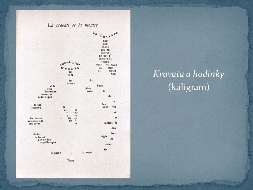 Kravata a hodinky (kaligram)