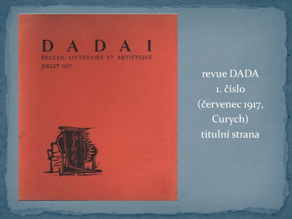 revue DADA 1. číslo (červenec 1917, Curych) titulní strana