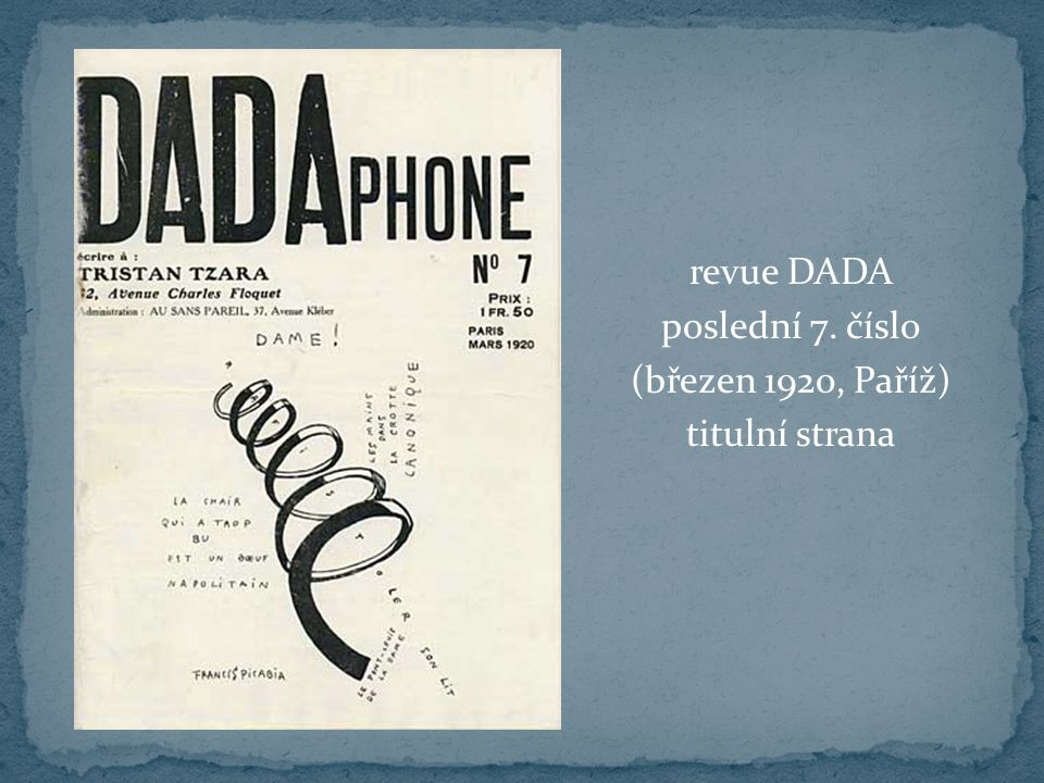 revue DADA poslední 7. číslo (březen 1920, Paříž) titulní strana