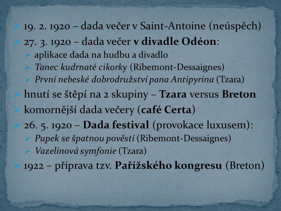 19. 2. 1920 – dada večer v Saint-Antoine (neúspěch)