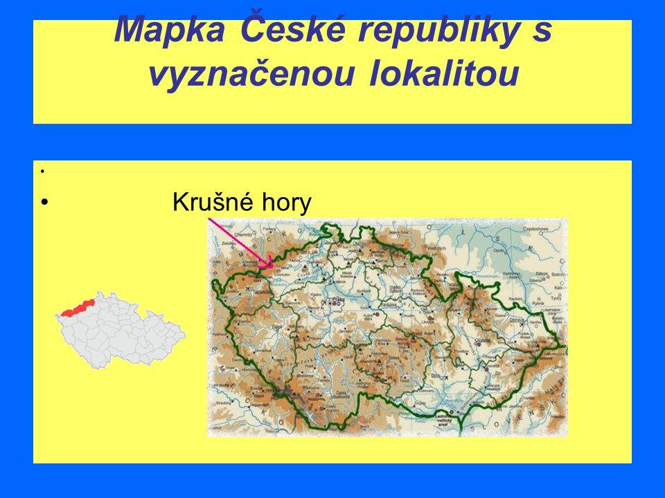 Mapka České republiky s vyznačenou lokalitou