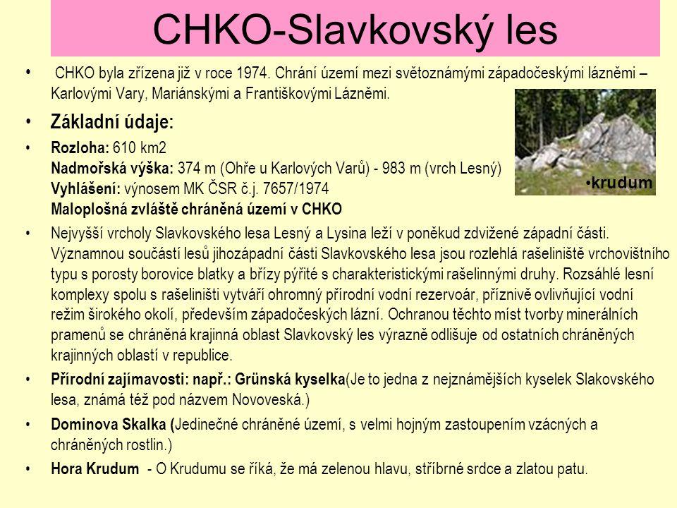 CHKO-Slavkovský les Základní údaje: