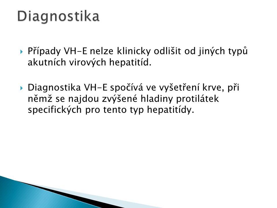 Diagnostika Případy VH-E nelze klinicky odlišit od jiných typů akutních virových hepatitíd.