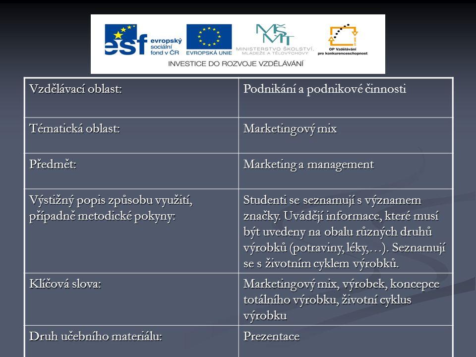 Vzdělávací oblast: Podnikání a podnikové činnosti. Tématická oblast: Marketingový mix. Předmět: Marketing a management.