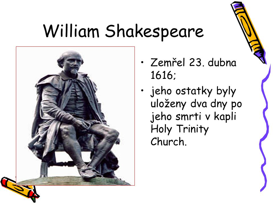 William Shakespeare Zemřel 23. dubna 1616;