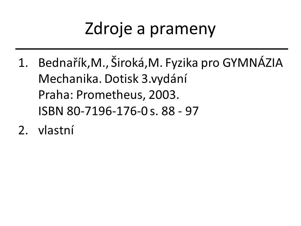 Zdroje a prameny Bednařík,M., Široká,M. Fyzika pro GYMNÁZIA Mechanika. Dotisk 3.vydání Praha: Prometheus, 2003. ISBN 80-7196-176-0 s. 88 - 97.