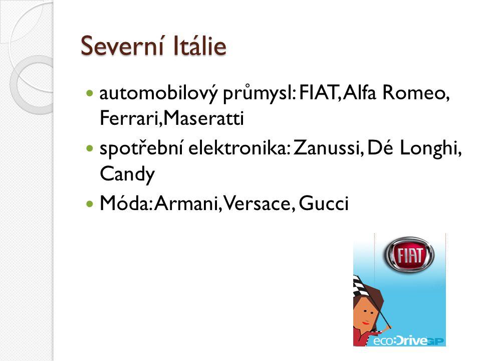 Severní Itálie automobilový průmysl: FIAT, Alfa Romeo, Ferrari,Maseratti. spotřební elektronika: Zanussi, Dé Longhi, Candy.
