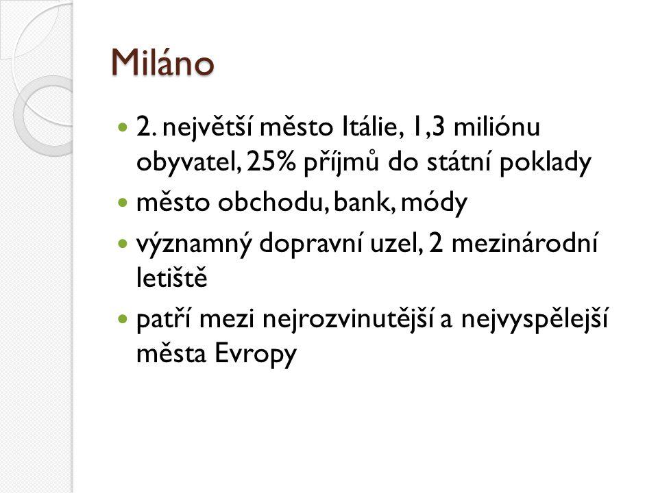 Miláno 2. největší město Itálie, 1,3 miliónu obyvatel, 25% příjmů do státní poklady. město obchodu, bank, módy.