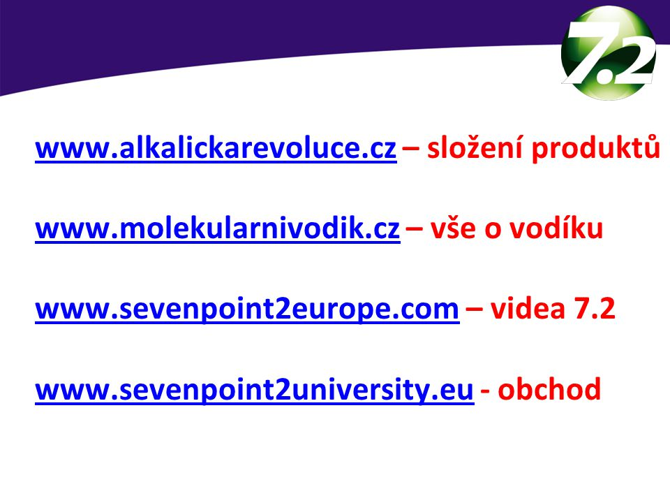 Podpora online!!! www.alkalickarevoluce.cz – složení produktů. www.molekularnivodik.cz – vše o vodíku.