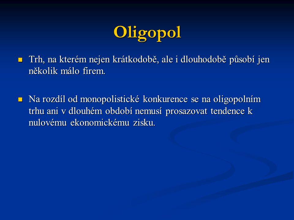 Oligopol Trh, na kterém nejen krátkodobě, ale i dlouhodobě působí jen několik málo firem.