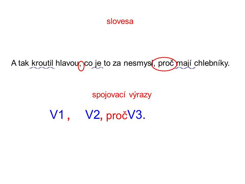 slovesa A tak kroutil hlavou, co je to za nesmysl, proč mají chlebníky. spojovací výrazy. V1 V2 V3.