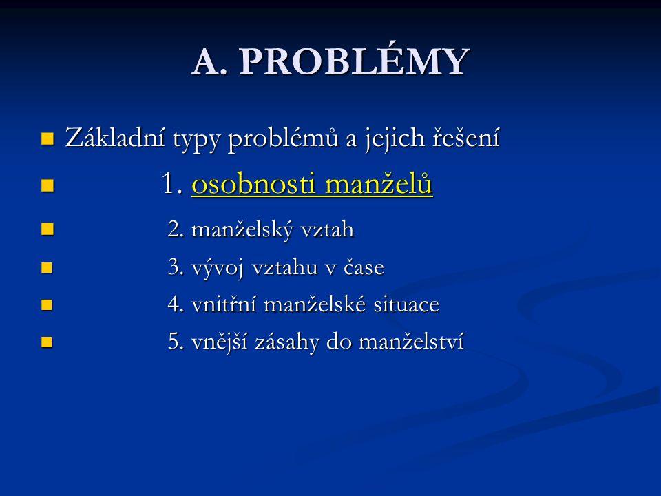 A. PROBLÉMY Základní typy problémů a jejich řešení