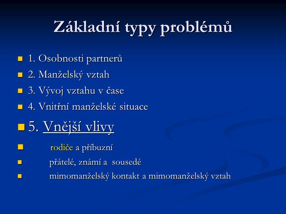 Základní typy problémů