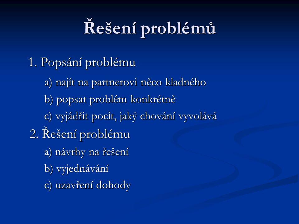 Řešení problémů 1. Popsání problému