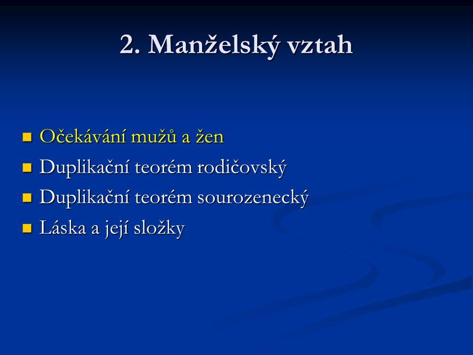 2. Manželský vztah Očekávání mužů a žen Duplikační teorém rodičovský