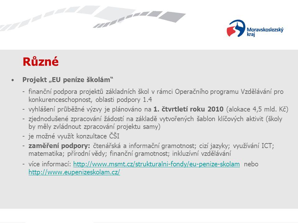"Různé Projekt ""EU peníze školám"