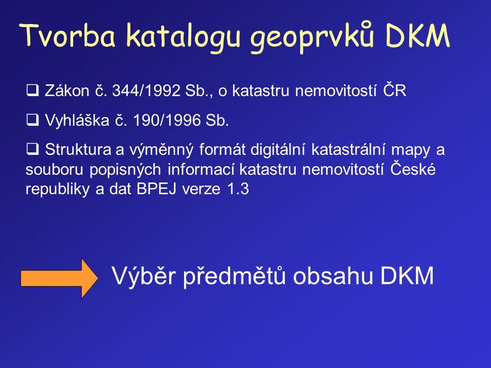 Tvorba katalogu geoprvků DKM