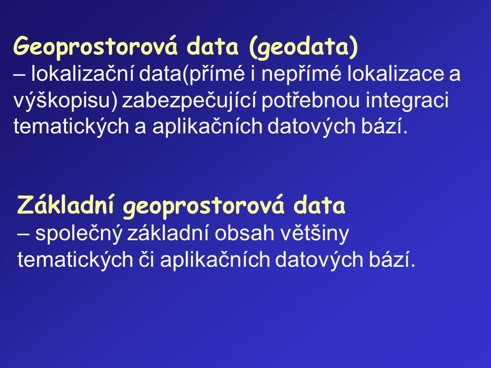 Geoprostorová data (geodata) – lokalizační data(přímé i nepřímé lokalizace a výškopisu) zabezpečující potřebnou integraci tematických a aplikačních datových bází.
