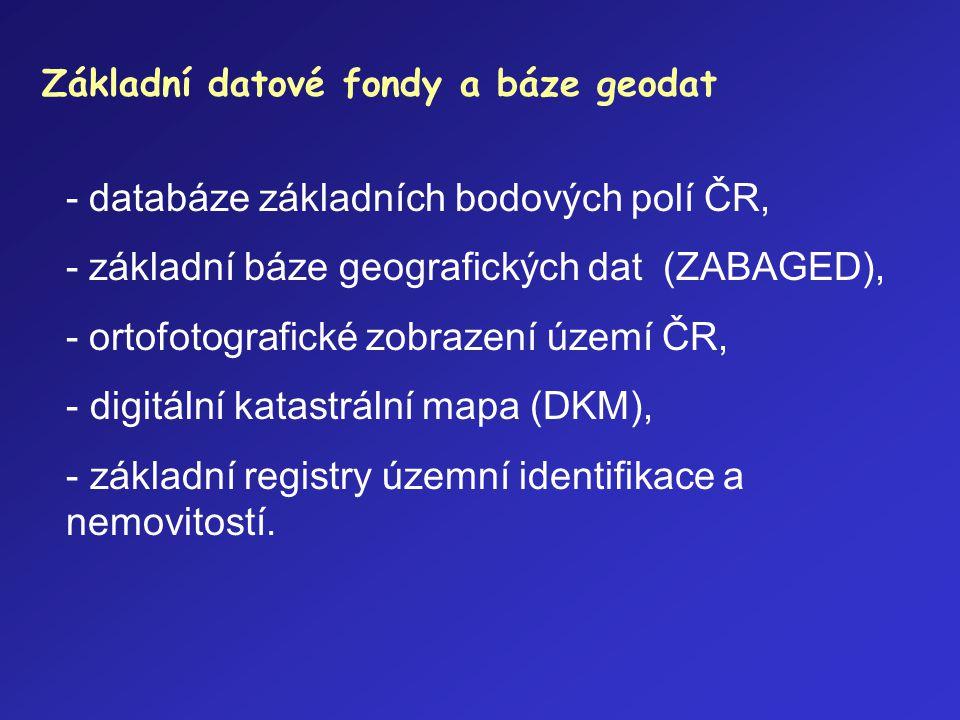 - databáze základních bodových polí ČR,