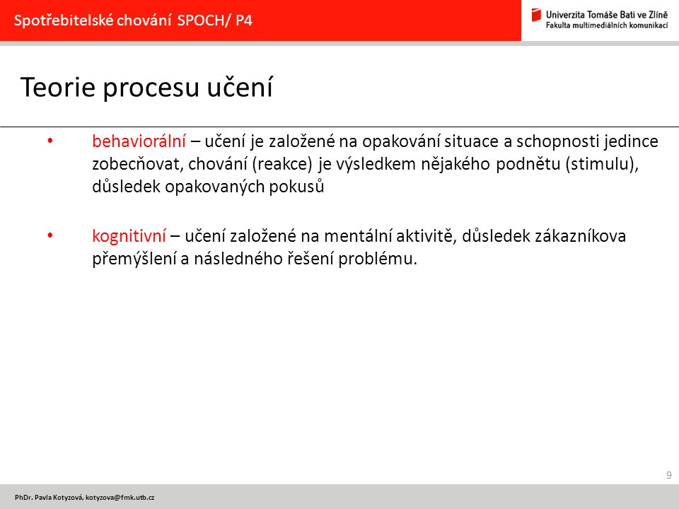 Spotřebitelské chování SPOCH/ P4
