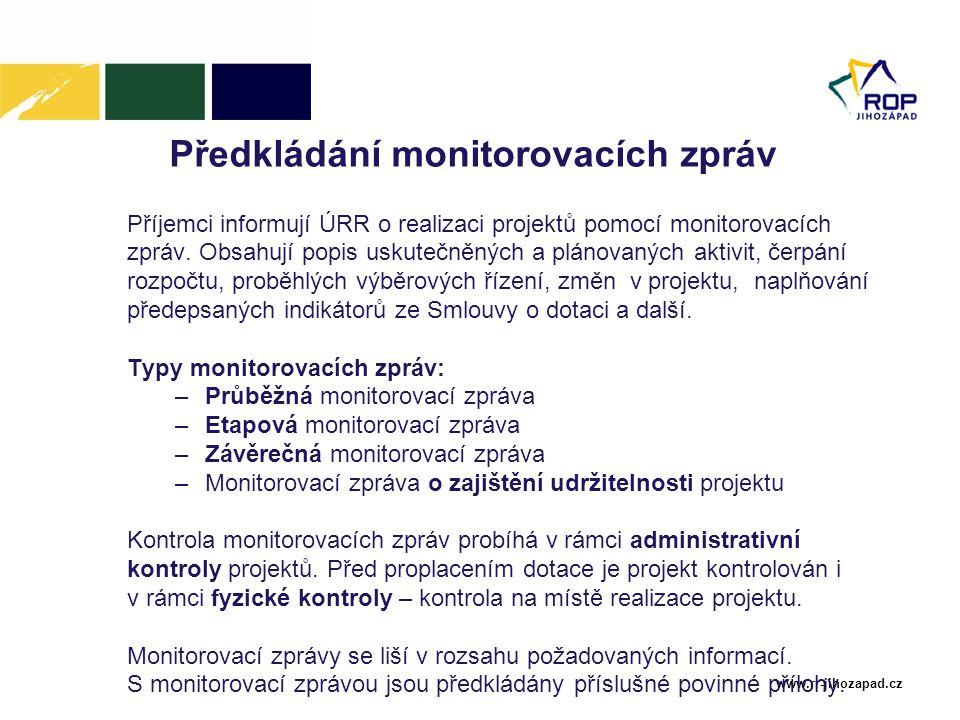 Předkládání monitorovacích zpráv