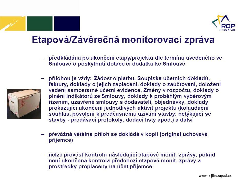 Etapová/Závěrečná monitorovací zpráva