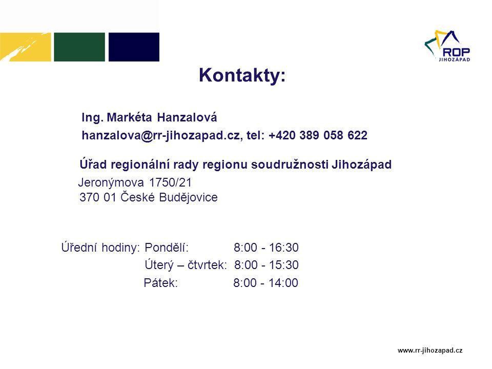 Kontakty: Ing. Markéta Hanzalová
