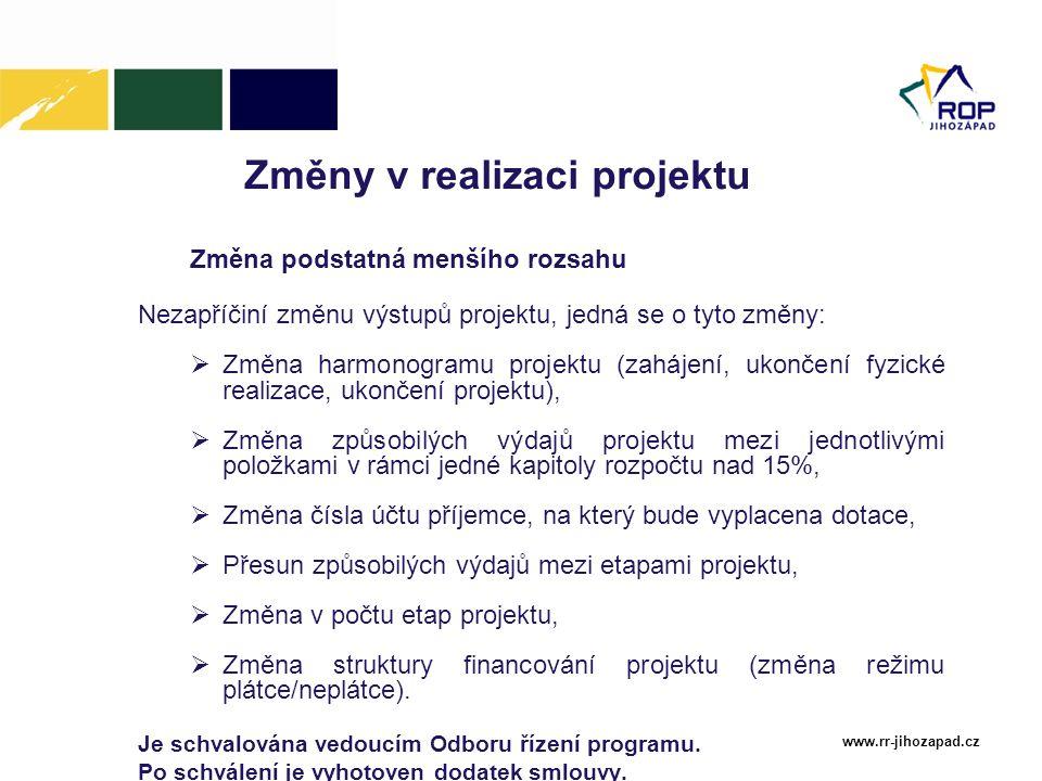 Změny v realizaci projektu