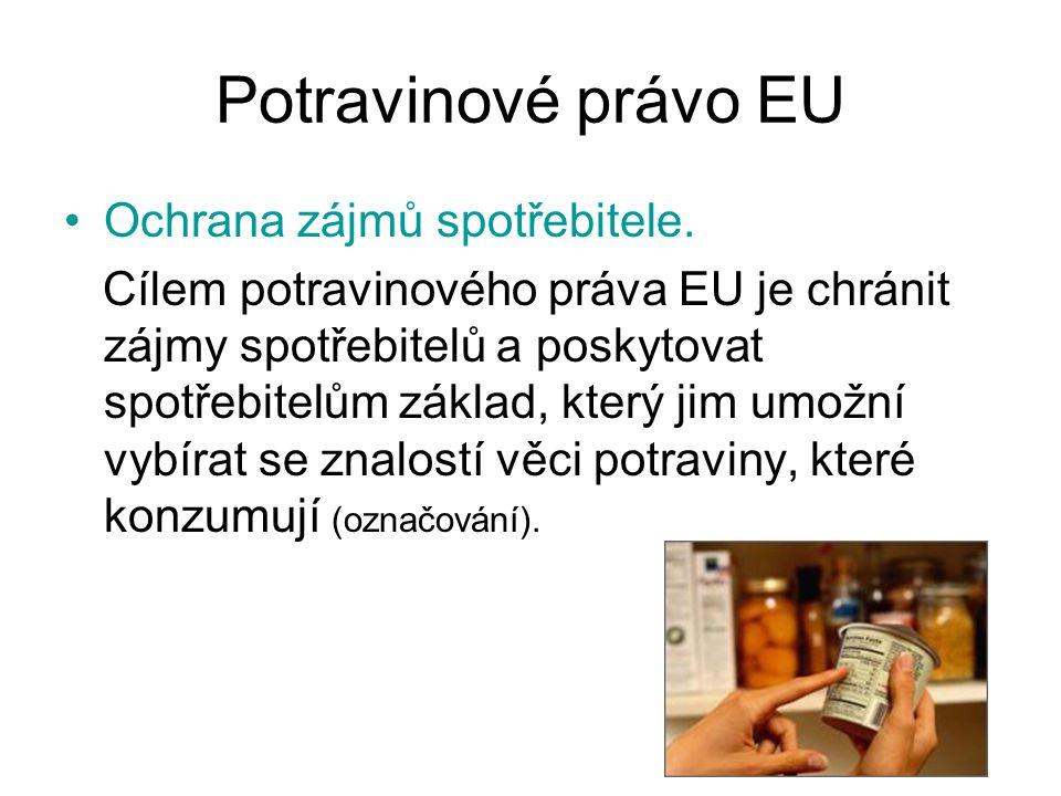 Potravinové právo EU Ochrana zájmů spotřebitele.