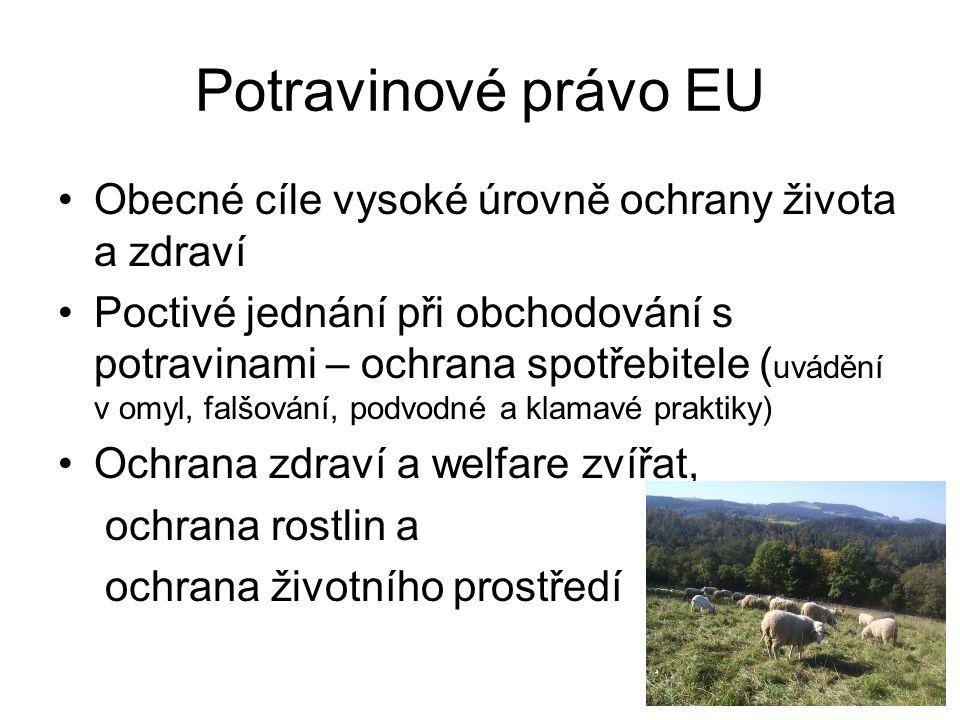 Potravinové právo EU Obecné cíle vysoké úrovně ochrany života a zdraví
