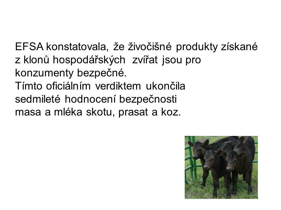 EFSA konstatovala, že živočišné produkty získané