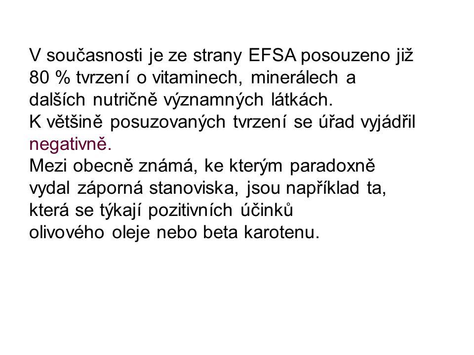 V současnosti je ze strany EFSA posouzeno již