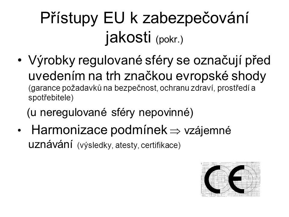 Přístupy EU k zabezpečování jakosti (pokr.)
