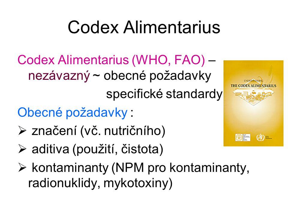 Codex Alimentarius Codex Alimentarius (WHO, FAO) – nezávazný ~ obecné požadavky. specifické standardy.