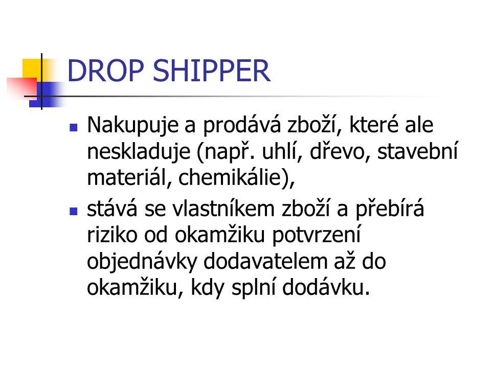 DROP SHIPPER Nakupuje a prodává zboží, které ale neskladuje (např. uhlí, dřevo, stavební materiál, chemikálie),