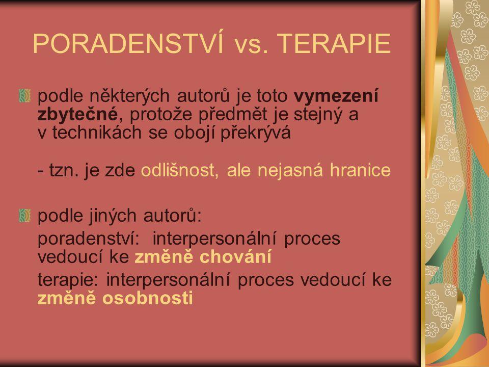 PORADENSTVÍ vs. TERAPIE
