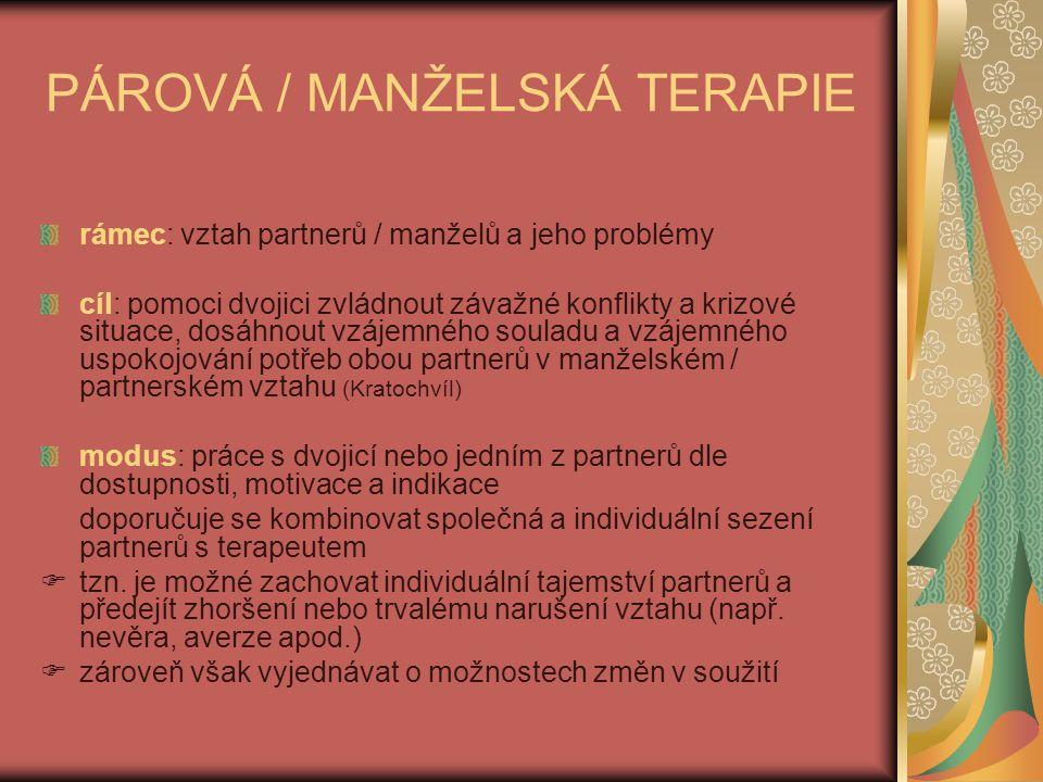 PÁROVÁ / MANŽELSKÁ TERAPIE