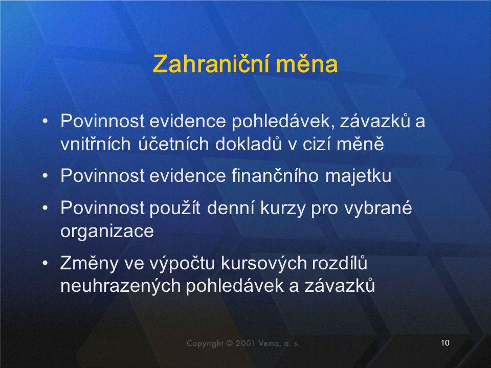 Zahraniční měna Povinnost evidence pohledávek, závazků a vnitřních účetních dokladů v cizí měně. Povinnost evidence finančního majetku.